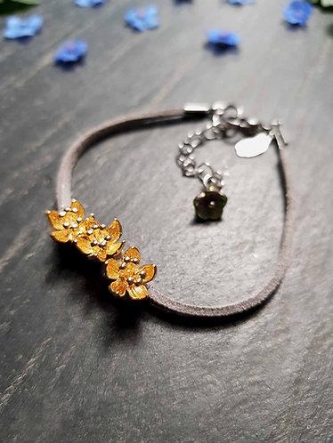 """Bracelet simple """"Ti fleurs fanées"""", GRIS CLAIR - 2941"""