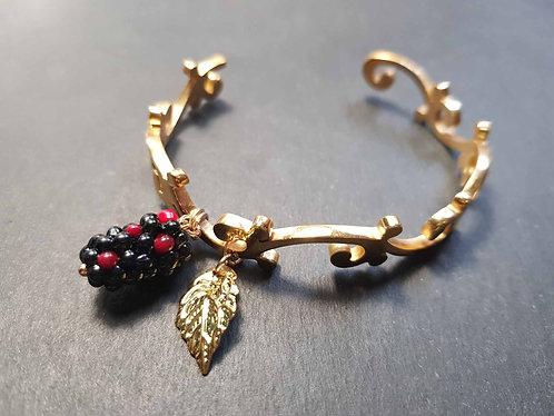 Bracelet jonc arabesque acier doré mûrier - 3072