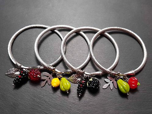 Beau bracelet jonc torsadé, acier inoxydable, fruits au choix - 3093