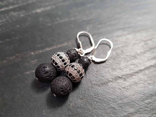 Boucles chics et élégantes perles de lave et perle strassée - 2746