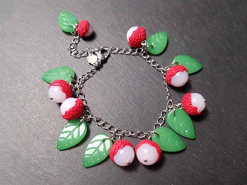 Bracelet breloques letchis & feuilles vertes