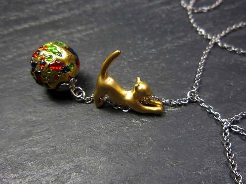 "Collier original ""Chaton d'or & perle murano multicolore"""