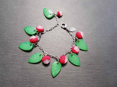 Bracelet PETITE FILLE letchis & feuilles vertes