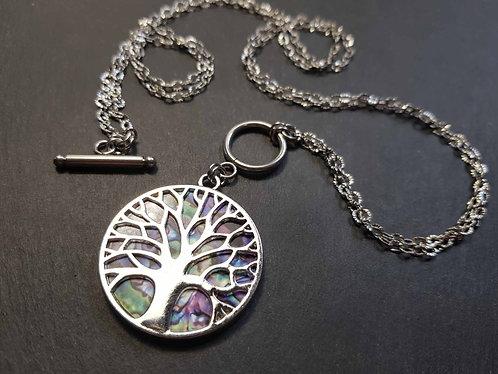 """Collier médaillon arbre de Vie GÉANT, multicolore """"nébuleuse"""" - 3138"""