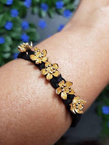 """Bracelet tressé """"Ti fleurs fanées"""", NOIR - 2942"""