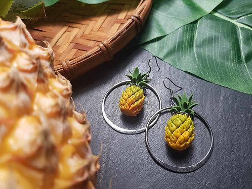 Boucles imposantes ananas Victoria & anneau - 2938