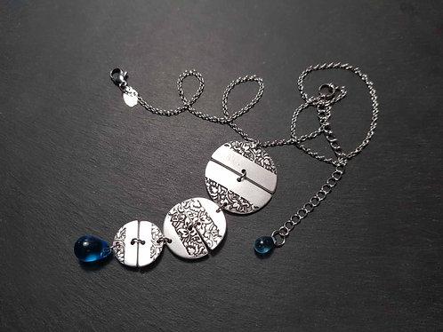 Collier original demi-lunes florales & gouttes bleues - 3116