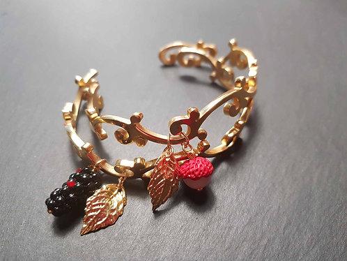Bracelet jonc arabesque acier doré letchis ou mûrier - 3072