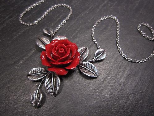 Collier rose rouge & feuillage argenté - 2608