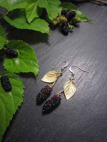 "Longues boucles originales or gold filled ""muriers..."" / NOIR & ROUGE - 2752"