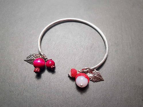 """Bracelet jonc métal argenté """"Letchis et goyaviers"""" - 2674"""