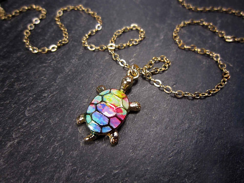 "Collier or gold filled ""rainbow turtle"", tortue - 2721"