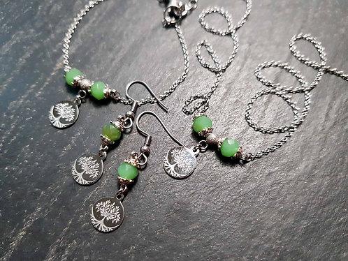 Parure minimaliste collier + bracelet + boucles, arbre de Vie - 2901