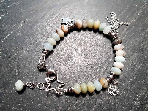 """Bracelet """"poussières d'étoile"""" pierre amazonite, bleu clair blanc - 2893"""