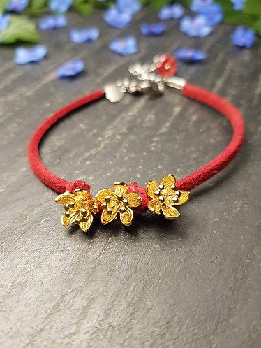 "Bracelet simple ""Ti fleurs fanées"", ROUGE - 2941"