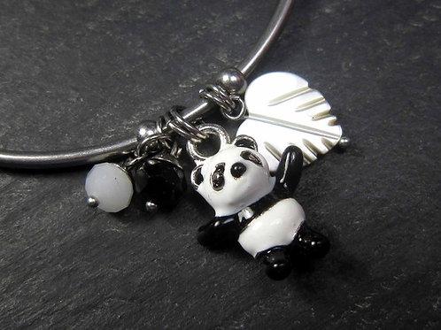 Bracelet jonc acier inoxydable petit panda et breloques