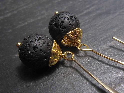 Longues boucles élégantes, perles de lave -2777