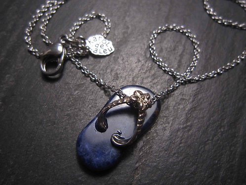 "Collier original ""Savate dé doigts !"" / lapis lazuli bleu nuit - 2778"