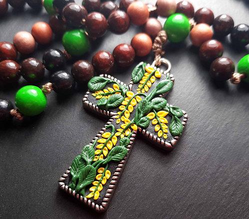 Grand chapelet décoratif croix ornée & perles bois