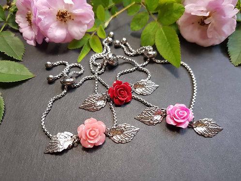 Bracelet fermoir coulissant, mini rose & feuilles, couleur AU CHOIX - 3134
