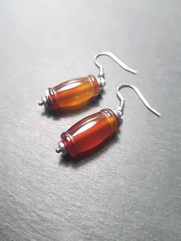 """Boucles originales perles cornaline façon """"canne à suc'"""" – 2847"""