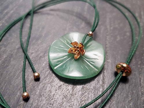 Collier fil ajustable feuille de lotus et lotus d'or -2853