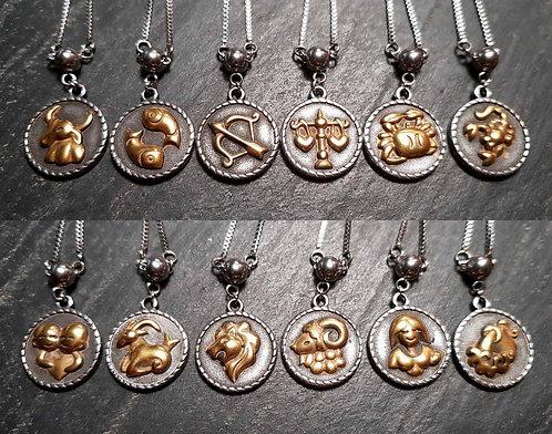 COLLIER acier inox breloque signe & symbole astrologique – 2878