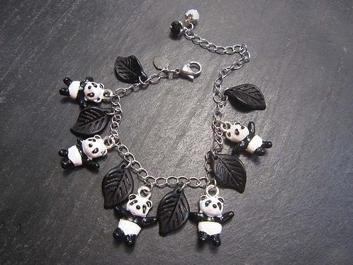 Bracelet original pandas en breloques et feuilles, noir et blanc - 1581