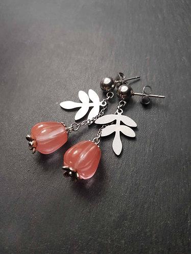 Boucles originales perles en quartz sculpté façon jamalac- 3141