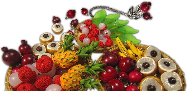 Création de bijoux fruits de la Réunion, bijoux goyaviers, bijoux letchis, bijoux longanis