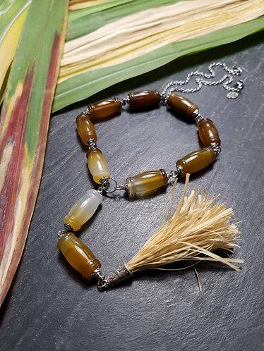 """Long collier original perles cornaline façon """"canne à suc'"""" – 2851"""