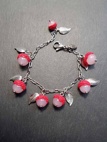 Bracelet PETITE FILLE letchis & feuilles argentées