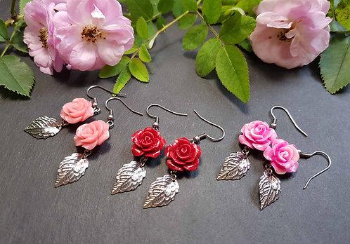 Boucles mini roses & feuille, couleur AU CHOIX - 3133