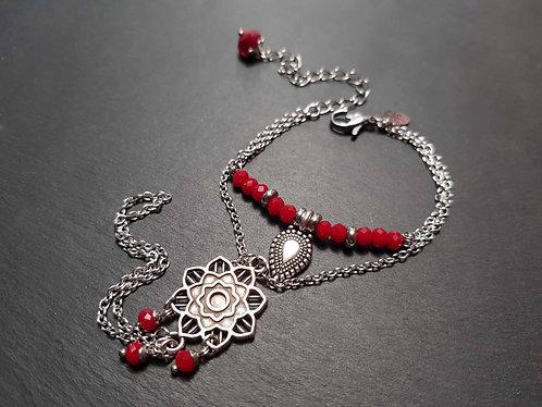 Bracelet de main style ethnique, breloque GOUTTE - 3099