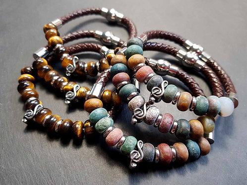 """Bracelet cuir tressé HOMME """"Maloya"""", oeil de tigre / jaspe AU CHOIX - 3109"""