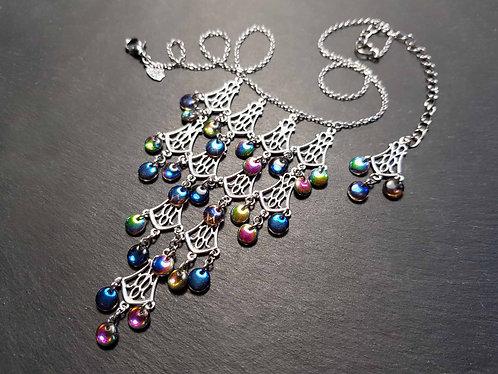 "Collier original ""Shéhérazade"", perles irisées - 3127"