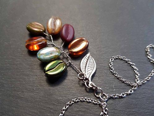 Collier original grains de café multicolores en épi – 3112