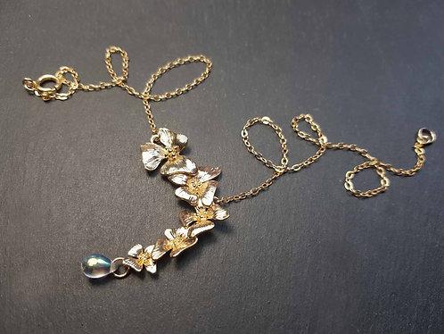 Collier or gold filled fleurs en cascade & goutte irisée - 3180