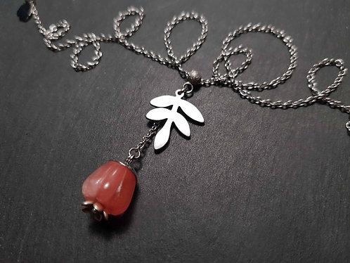Collier original perle en quartz sculpté façon jamalac- 3142