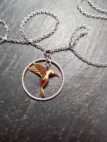 Collier original colibri & anneau d'argent - 2789AC