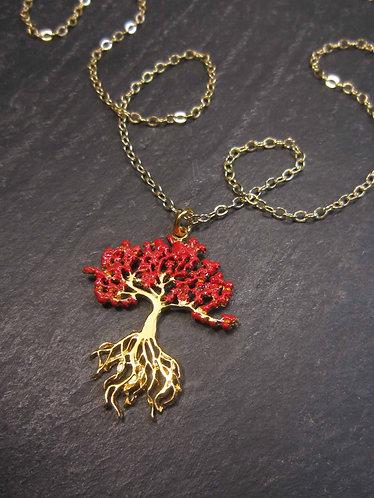 Collier délicat Flamboyant, or gold filled et vermeil arbre exotique