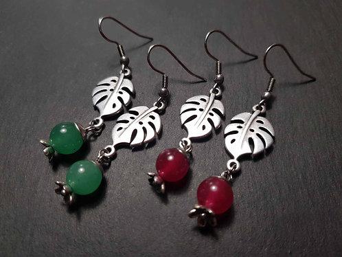 Boucles monstera & perles jade teinté, émeraude /rubis -3082