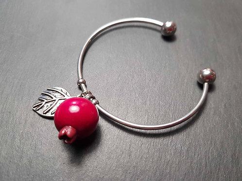 "Bracelet jonc acier inoxydable ""Goyavier & feuille argentée"""