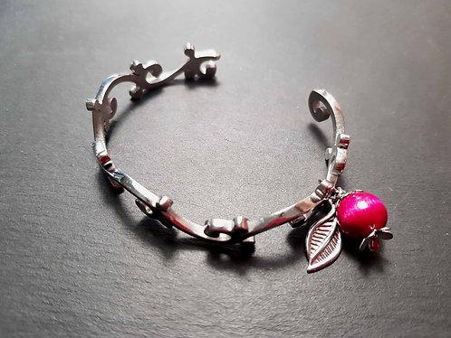 Bracelet jonc acier inoxydable, arabesques & goyavier - 3092