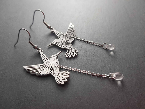 Longues boucles colibris & gouttes - 3067