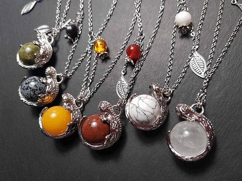 Long collier margouillat à la perle, coloris au choix - 3076