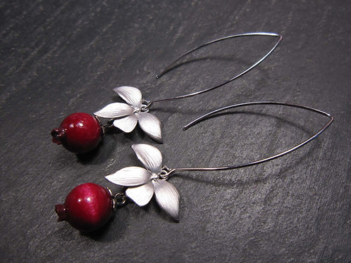 """Longues boucles """"Goyaviers & feuillage"""""""