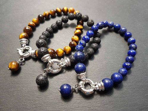 Bracelet original fermoir géant & perles naturelles AU CHOIX – 3120