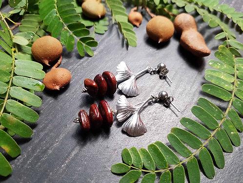 """Boucles imposantes """"Graines de tamarin & feuilles de ginkgo"""" - 2930"""
