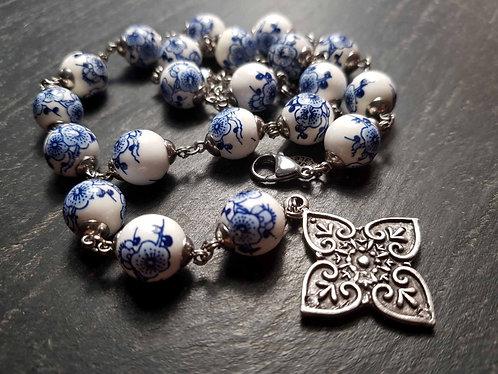 """Parure originale """"Perles céramique fleurs d'Asie"""" – 2949"""